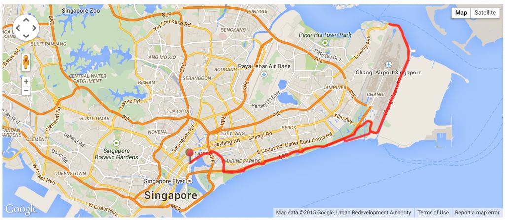 50km loop via East Coast Park
